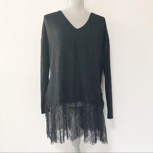 Zara lace bottom tunic length soft sweater